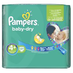 Pampers Baby Dry Gr. 4+ Maxi 9-20kg  (27 St.) - 4015400696186