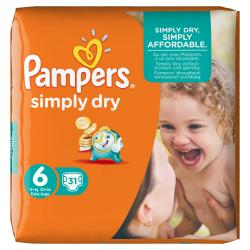 Pampers Simply Dry Gr. 6 extragroß 15+kg  (31 St.) - 4015400613909