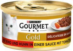 Gourmet Gold mit Rind & Huhn in Sauce mit Tomaten  (85 g) - 7613032335816