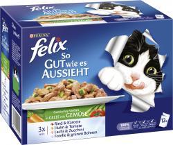 Felix So gut wie es aussieht Rind & Karotte, Huhn & Tomate, Lachs & Zucchini, Forelle & grüne Bohnen  (12 x 100 g) - 7613032290986