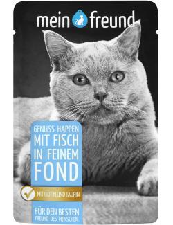 Mein Freund Katze Genuss Happen mit Fisch in feinem Fond  (100 g) - 4306188302544