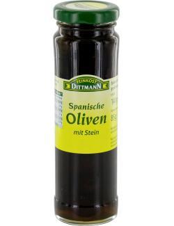 Feinkost Dittmann Spanische geschwärzte Oliven mit Stein  (85 g) - 4002239472005