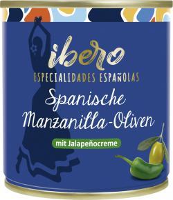 Ibero Spanische grüne Manzanilla Oliven gefüllt mit Jalapeñocreme  (85 g) - 4013200555542