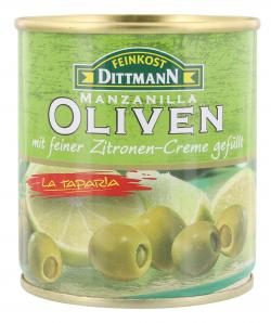 Feinkost Dittmann Spanische grüne Oliven gefüllt mit Lemon-Creme  (85 g) - 4002239443104