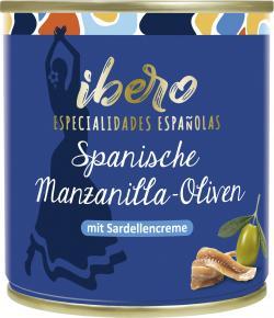 Ibero Spanische Manzanilla Oliven gefüllt mit Sardellencreme  (85 g) - 4013200555528