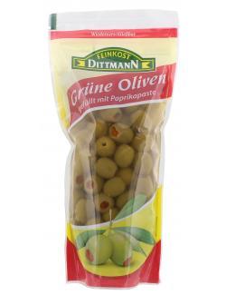 Feinkost Dittmann Grüne Oliven mit Paprikapaste  (250 g) - 4002239850001