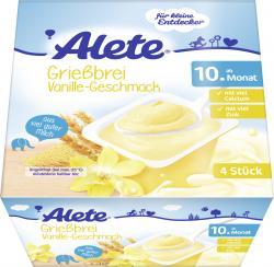 Alete Grießbrei Vanille  (4 x 100 g) - 4005500071631