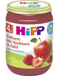 Hipp Erdbeere mit Himbeere in Apfel  (190 g) - 4062300014152