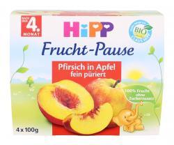 Hipp Frucht-Pause Pfirsich in Apfel  (4 x 100 g) - 4062300092525