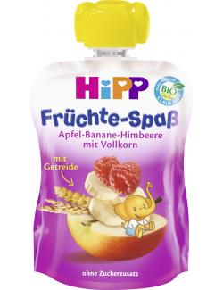 Hipp Früchte-Spaß mit Apfel-Banane-Himbeere + Vollkorn  (90 g) - 4062300206236