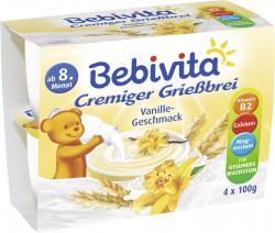 Bebivita Cremiger Grießbrei Vanille-Geschmack  (4 x 100 g) - 4018852014577