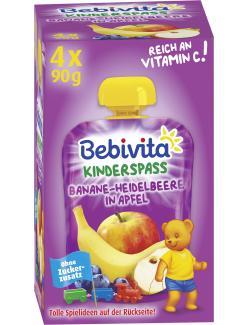 Bebivita Kinder Spaß Banane-Heidelbeere in Apfel  (4 x 90 g) - 4018852017301