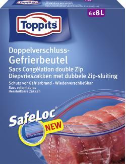 Toppits Doppelverschluss-Gefrierbeutel mit Ziploc 8 Liter  (6 St.) - 4006508185740