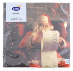 Duni Santa & Snowflakes Tissue-Servietten 33x33cm  (1 St) - 7321011718658