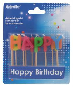 Riethmüller Kerzen-Set Happy Birthday  - 4009775064749